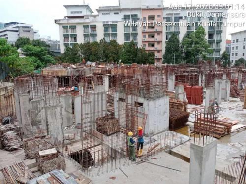 Block A - LG1 columns & lift core walls.