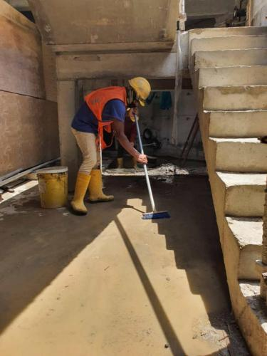 Cleaning and clearing activities for completed sections.