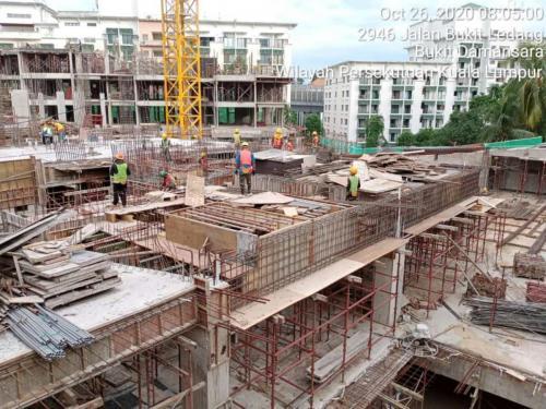 Block A- Formwork in progress on ground floor.