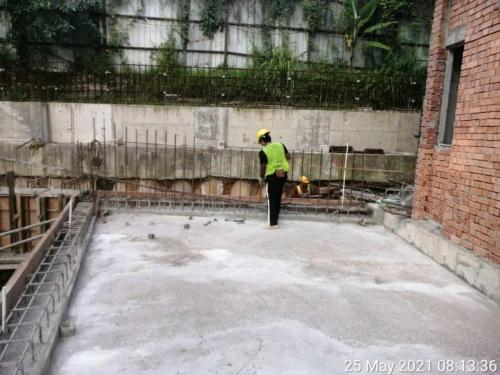 Block A - view of corner unit's garden slab completed.