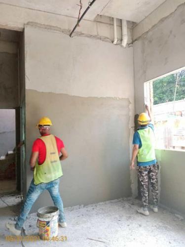 Block B - plastering works in progress.