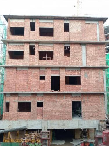 Block A - external brickwork completed.