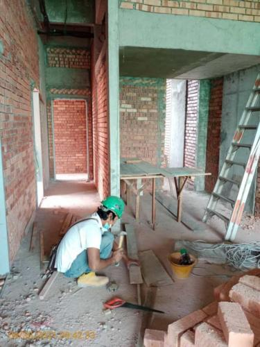 Block A - Internal brickwork in progress.