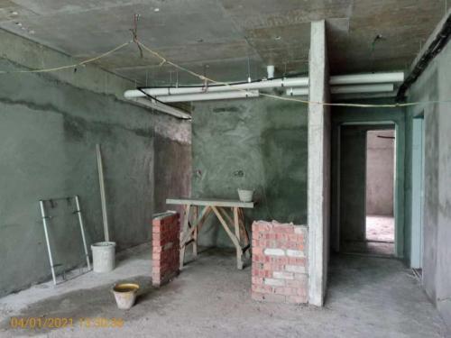Block B - kitchen brickworks in progress.