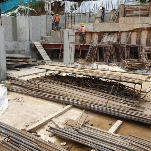 Block A - LG 1 retaining wall at Multi-piurpose hall in progress